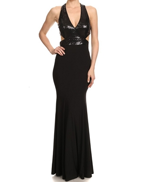 Black Halter Sequins Formal Dress w/Open Back