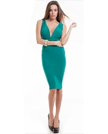 V-Neck Fitted Knee Length Dress- 2 Colors