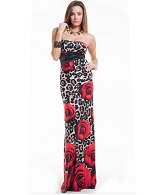 Strapless Animal Print Long Dress