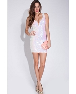 White Iridescent Sequins Short Dress