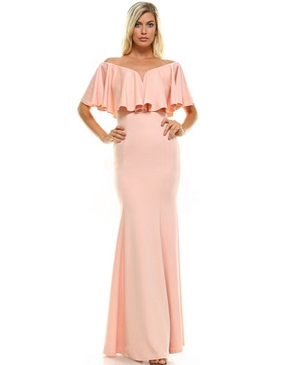 Scuba Off the Shoulder Ruffle Formal Dress- 3 Colors