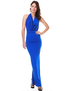 Cowl Neck Halter Long Dress- 2 Colors
