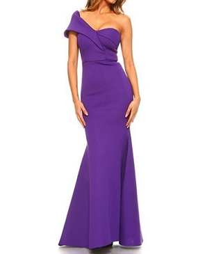 One Shoulder Scuba Formal Dress- 2 Colors