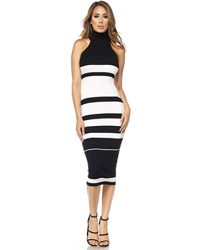 Knit Stripes High Neckline Midi Dress
