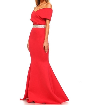 Off the Shoulder Scuba Evening Dress w/Rhinestone Trim- 2 Colors
