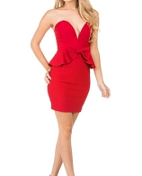 Sweetheart Strapless Peplum Ruffle Dress- 3 Colors
