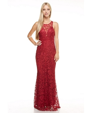 Guipure Lace Formal Dress w/Slit- 2 Colors