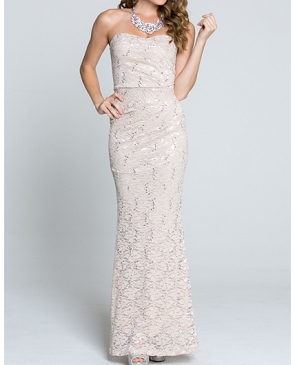 Strapless Ruched Lace Formal Dress- 2 Colors