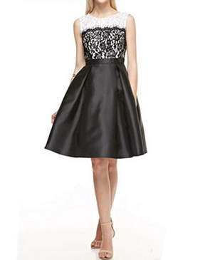 Black and Ivory Lace and Taffeta Cocktail Dress