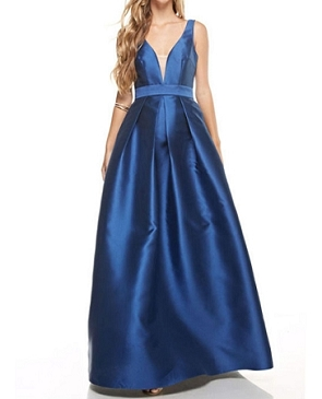 Navy Deep V Ball Gown