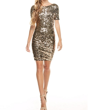 Short Sleeve Sequins Short Dress- 2 Colors
