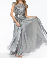 Silver Chiffon Evening Dress w/Bead Trims