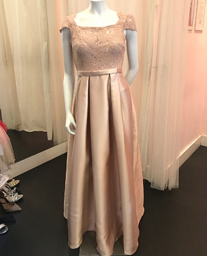 Blush Cap Sleeve Ball Gown