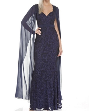 Navy Lace Formal Dress w/Cape Sleeves