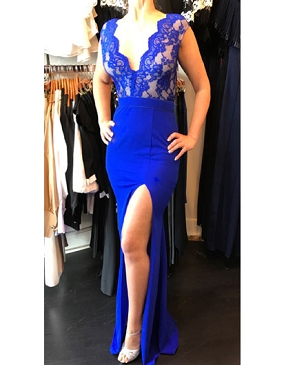 Royal Blue V-Neck Jersey Formal Dress w/Slit