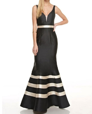 Black Mikado Formal Dress w/Creme Stripes