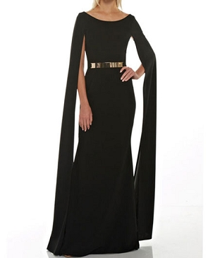 Black Formal Dress w/Cape Sleeve and Gold Belt