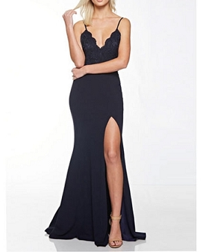 Navy V-Neck Formal Dress w/Slit