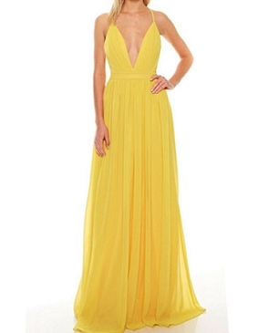 Chiffon V-Neck Maxi Dress w/Slit- 2 Colors