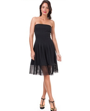 Black Strapless Cocktail Dress w/Sheer Mesh Trim