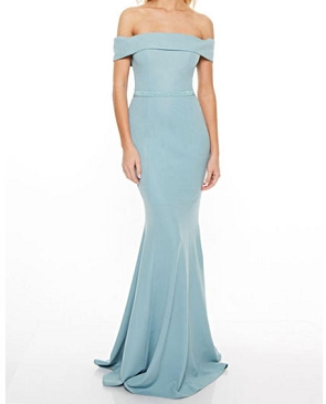 Off the Shoulder Formal Dress w/Bead Belt- 2 Colors