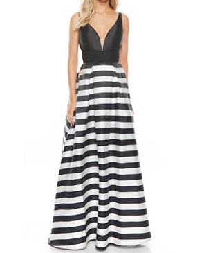 Black and White Stripes Ball Gown Dress