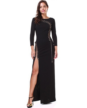 Black L/S Chain Lace Up Formal Dress