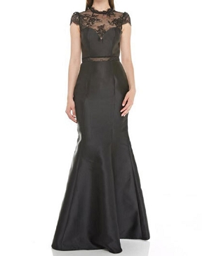 Black Mikado Formal dress w/Lace Trims