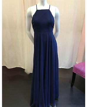 Navy Chiffon Halter Formal Dress