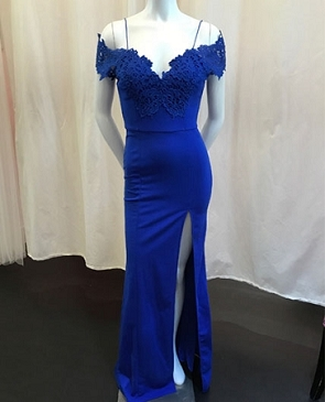 Royal Blue Off the Shoulder Formal Dress with Slit