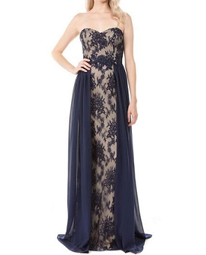 Navy Lace Strapless Formal Dress w/Chiffon Overlay