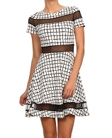Black and White Print Short Dress
