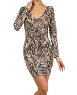 L/S Snake Print Short Dress- 2 Colors