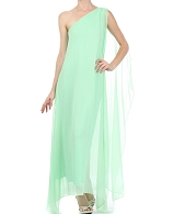 One Shoulder Chiffon Tunic Dress- 2 Colors