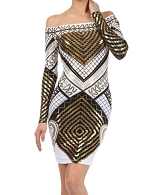 L/S Metallic Tribal Print Dress- 2 Colors