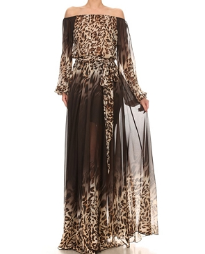 Animal Print Chiffon Off the Shoulder Dress- 2 Colors