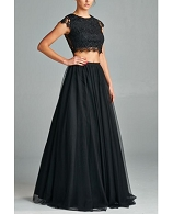 Black Crop Top w/Ball Gown Tulle Skirt