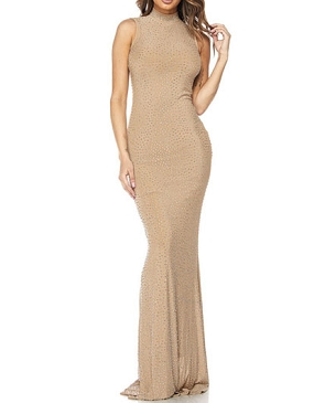 Nude Mesh Formal Dress w/Rhinestones