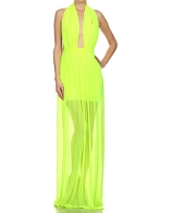 Mesh Deep Halter Long Dress- 4 Colors