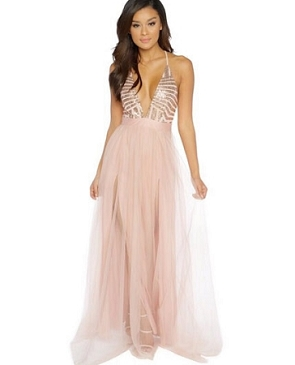 Deep V Tulle Maxi Dress w/Slits and Sequins- 2 Colors