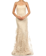 Champagne Mesh Strapless Formal Dress