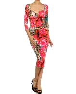 L/S Flower Print Knee Length Dress- 2 Colors