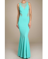 Pique Mermaid Formal Dress w/Mesh Cutouts- 4 Colors