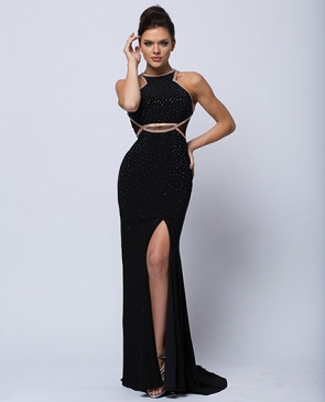 Black Jersey Halter Formal Dress w/Rhinestone Trims and Cutouts