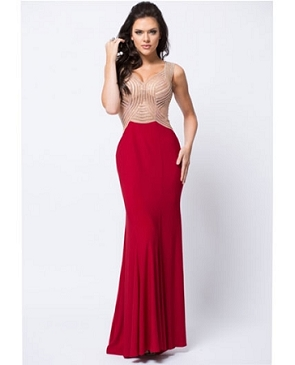 Rhinestone Mesh Bodice ITY Evening Gown- 2 Colors