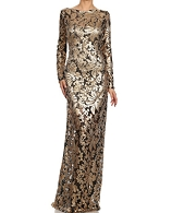 L/S Lace Sequins Formal Dress- 2 Colors