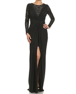 L/S Sequins and Lycra Ruched Formal Dress- 2 Colors