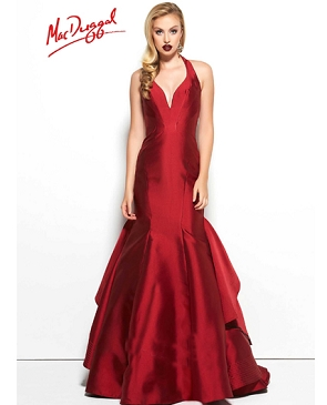 Halter Mermaid Evening Gown w/Back Ruffles- 3 Colors