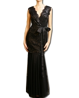 Black Sequins Lace Dress w/Tulle