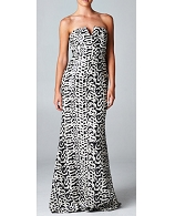 Strapless Black and Creme Sequins Evening Dress